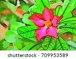 pink  flower  green  leaf | Shutterstock . vector #709953589