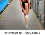running caucasian blonde  woman ... | Shutterstock . vector #709953811