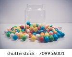 closeup gum balls in container   Shutterstock . vector #709956001