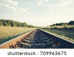 railway close up in the summer...   Shutterstock . vector #709963675