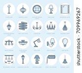 light fixture  lamps flat line... | Shutterstock .eps vector #709969267