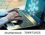 man typing keyboard laptop hand ... | Shutterstock . vector #709971925