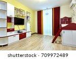 interior children's room... | Shutterstock . vector #709972489
