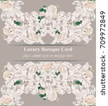 luxury baroque card roses...   Shutterstock .eps vector #709972849