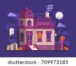 halloween ghost house scene...   Shutterstock .eps vector #709973185
