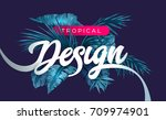 bright tropical background with ... | Shutterstock .eps vector #709974901