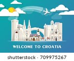 croatia travel background... | Shutterstock .eps vector #709975267