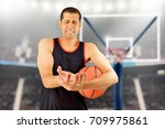 basketball player with a wrist... | Shutterstock . vector #709975861