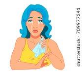 crying cartoon girl. open mouth ... | Shutterstock .eps vector #709977241
