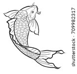 Hand Drawn Outline Koi Fish An...