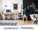 stylish black and white nordic... | Shutterstock . vector #709983061