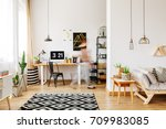 home furniture of a freelancer... | Shutterstock . vector #709983085