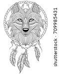 dream catcher with wolf. tattoo ... | Shutterstock .eps vector #709985431