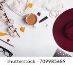 woman's autumn accessories  hat ... | Shutterstock . vector #709985689