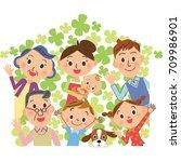 three generations family clover ... | Shutterstock .eps vector #709986901