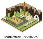isometric oil extraction... | Shutterstock .eps vector #709989997