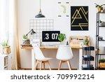 black and golden geometric...   Shutterstock . vector #709992214