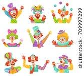 happy cartoon friendly clowns... | Shutterstock .eps vector #709997299