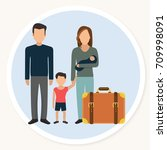 refugee family with child and... | Shutterstock .eps vector #709998091
