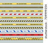 barricade tape design element... | Shutterstock .eps vector #709999354