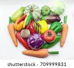 vegetables isolated on white... | Shutterstock . vector #709999831