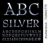 silver alphabet  fat silver... | Shutterstock .eps vector #710001775