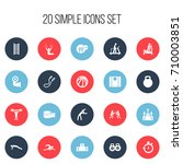 set of 20 editable fitness... | Shutterstock .eps vector #710003851