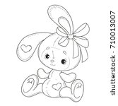 coloring book vector. the bunny ... | Shutterstock .eps vector #710013007