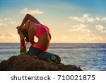 meditation on sunset sky... | Shutterstock . vector #710021875