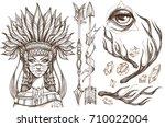 beautiful girl in a headdress... | Shutterstock .eps vector #710022004
