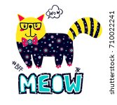 meow pussy cat t shirt design.... | Shutterstock .eps vector #710022241