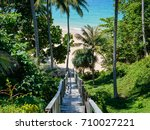 old wooden down stairs to the... | Shutterstock . vector #710027221