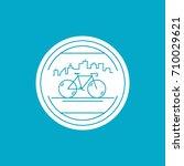bicycle city bike badge line...   Shutterstock .eps vector #710029621