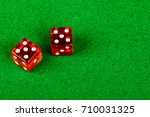 Craps dice showing double five - stock photo
