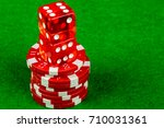 Craps dice and betting chips - stock photo