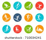 winter ski button icons set | Shutterstock .eps vector #710034241