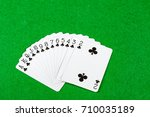 Cards showing just suit clubs - stock photo