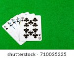 Poker hand Royal Flush Clubs - stock photo