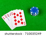 Poker hand Royal Flush Diamonds With Betting Chips - stock photo