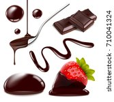 set of chocolate objects for... | Shutterstock . vector #710041324