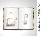 house and key in open book.... | Shutterstock .eps vector #71004154