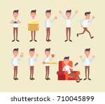 man poses vector set.   Shutterstock .eps vector #710045899