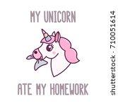 cute unicorn eating homework... | Shutterstock .eps vector #710051614