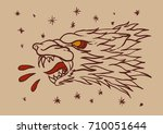 wolf head tattoo | Shutterstock .eps vector #710051644