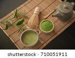 matcha. organic green matcha... | Shutterstock . vector #710051911