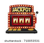 red slot machine wins the... | Shutterstock .eps vector #710053531