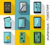 broken phones fix icon set....   Shutterstock .eps vector #710057599