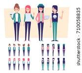 vector set of young people.... | Shutterstock .eps vector #710058835