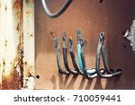 unsafe and danger of power line ...   Shutterstock . vector #710059441
