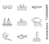 water creature icons set.... | Shutterstock .eps vector #710060689